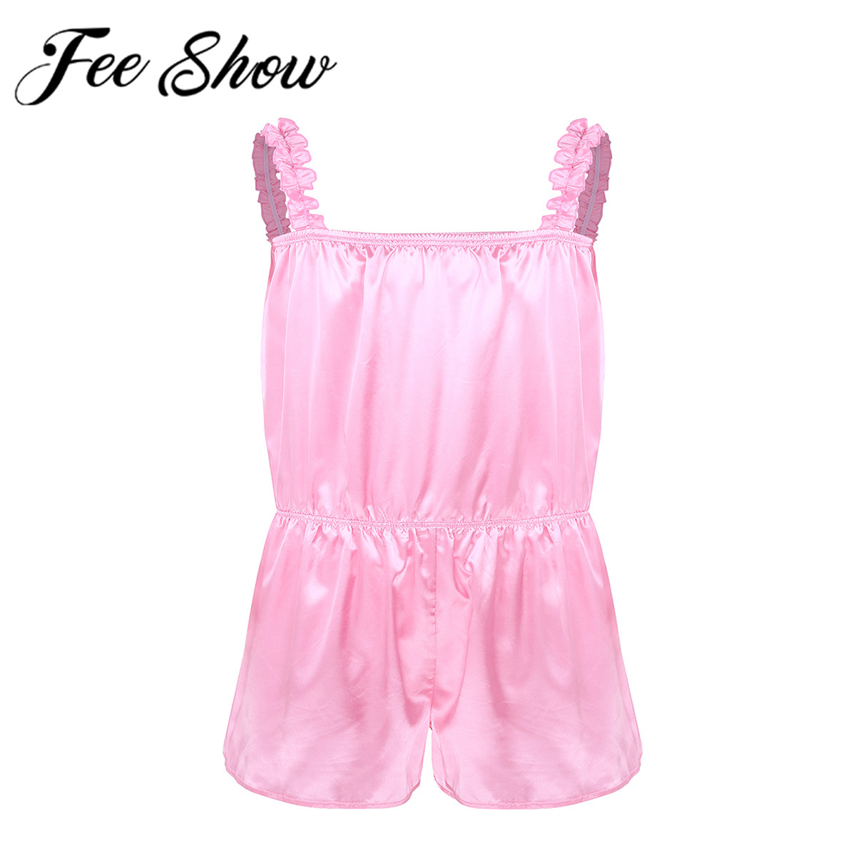 <font><b>Men</b></font> Hot Erotic Sissy <font><b>Lingerie</b></font> Babydolls Buttery Silky Shiny Frilly Satin Crossdress Pants Sleepwear Pajamas <font><b>Sexy</b></font> Male Nightdress image