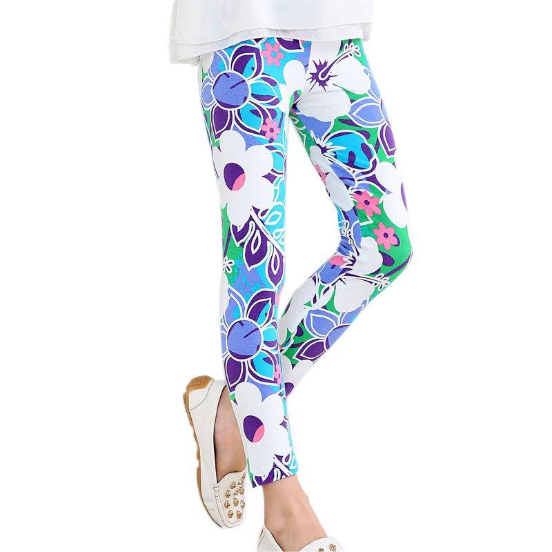 6 Colors Children Flower Floral Printed Elastic Long Trousers Kids Girls Skinny Leggings Girls Pants 2-14Y
