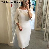 Charming Pearls Short Mother of the Bride Dress 2019 White Ivory Formal Long Sleeves Evening Party Gowns With Jacket Cheap Sale
