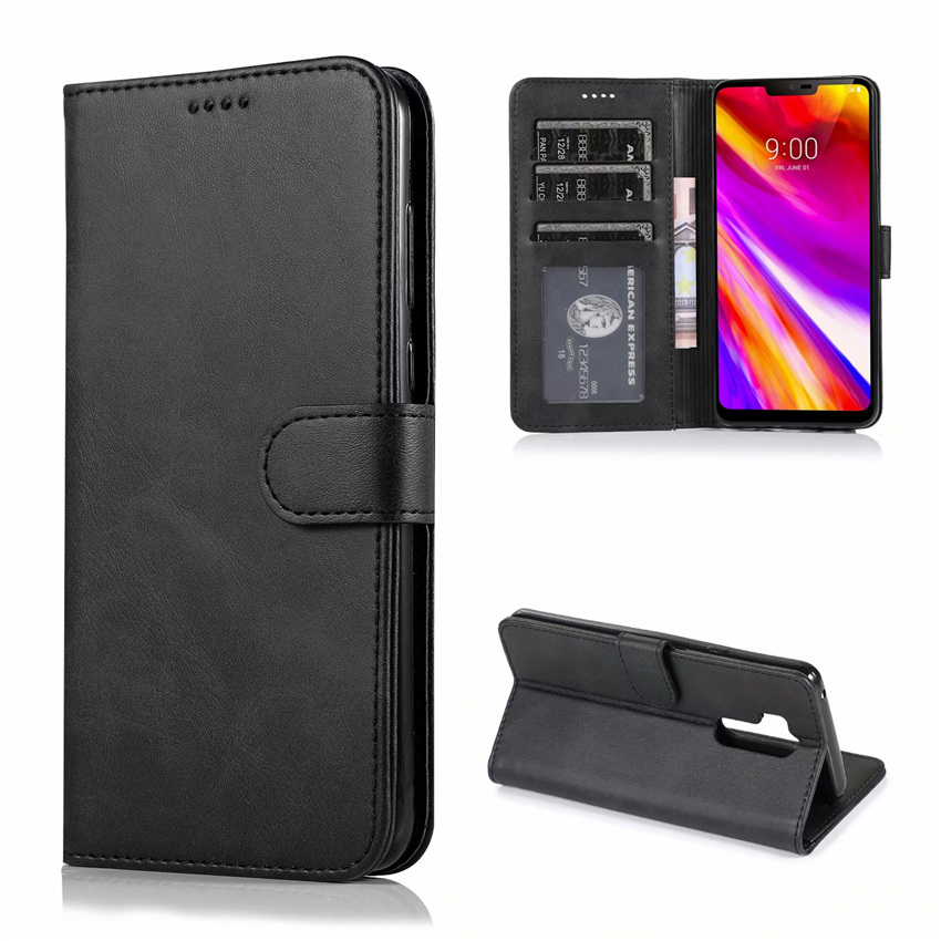 For LG G7 ThinQ Case High Quality Flip Leather Cases Stand PU Cover With Card Holder