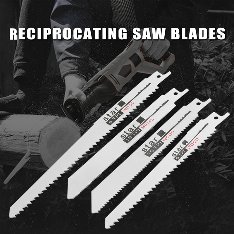 10pcs/Set Saw Blades Set Carbide Woodworking Wood Fibreboard Metal Cutting Reciprocating Saw Blades Power Tools Accessories