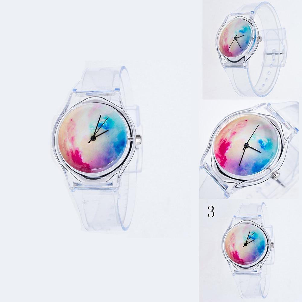 Fashion Women Wristwatches Plastic Clock Transparent Strap Student Sport Watches Lady Girls Casual Quartz Watch