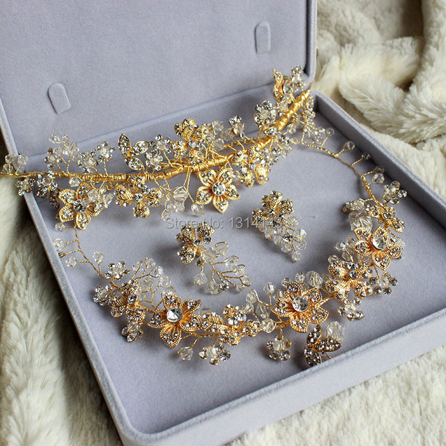 Handmade gold necklace earrings hair accessories three piece bridal