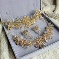 Oro hechos a mano collar pendientes accesorios para el cabello de tres piezas novia tocado de gama alta de lujo hechos a mano joyería de la boda establece