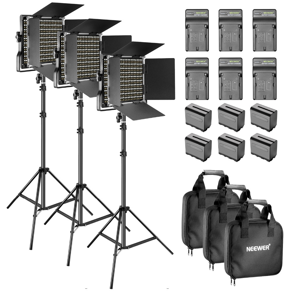 Neewer Bi-color LED 660 Video light and stand kit with battery and charger for studio YouTube video recording rugged metal frame