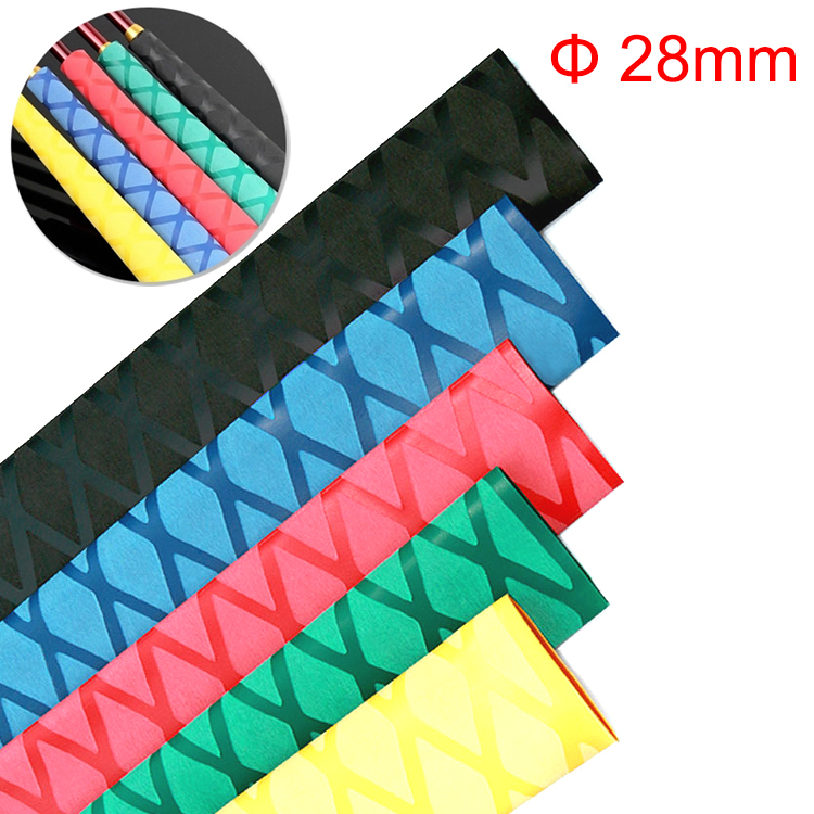 1M 28mm Dia Black Red Blue Green Yellow Stripe Skid Fishing Rod Bat Insulation Antistatic Tripod Shrink Tube Shrinkable Tube