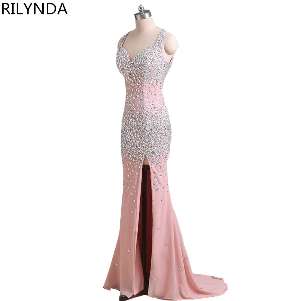 На замовлення Мила шиї Sheer мережива довгим рукавом пром сукні 2017 Sparkly бісероплетіння перли високий розріз скромні формальні вечірні сукні  t