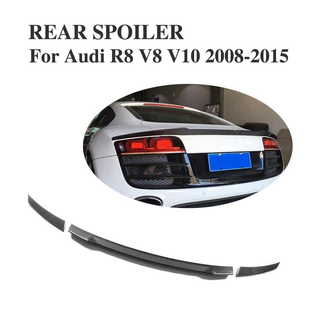 Custom Tuning Carbon Fiber Car Rear trunk lip spoiler Wing for Audi R8 GT V8 V10 2008-2016 3PCSCustom Tuning Carbon Fiber Car Rear trunk lip spoiler Wing for Audi R8 GT V8 V10 2008-2016 3PCS