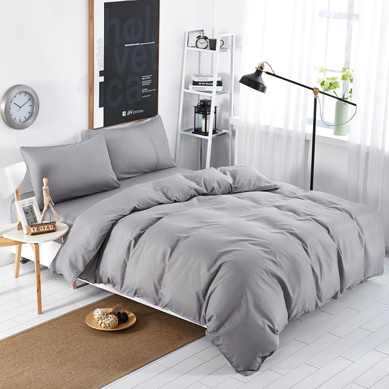 home textiles light grey solid color style bedding sets 3 4pcs duvet cover bed sheet pillowcase. Black Bedroom Furniture Sets. Home Design Ideas