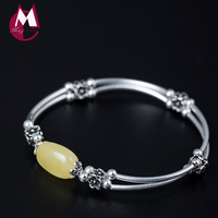 Natural Stone Beeswax Bangle On The Leg Vintage Flower Beads 100% 925 Sterling Silver Bracelet For Women Fine Jewelry YB28