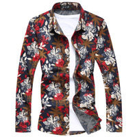 2014 New Autumn Men Shirts High Quality Plus Size 3XL 4XL 5XL Floral Print Shirts Men