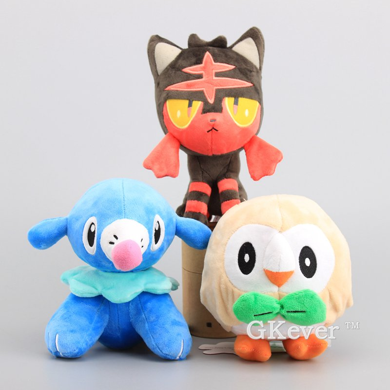 Anime 3 Styles Litten Popplio Rowlet Plush Toy 7th Generation Sun Moon Starter Stuffed Animal Soft Dolls 17-20 CM ...