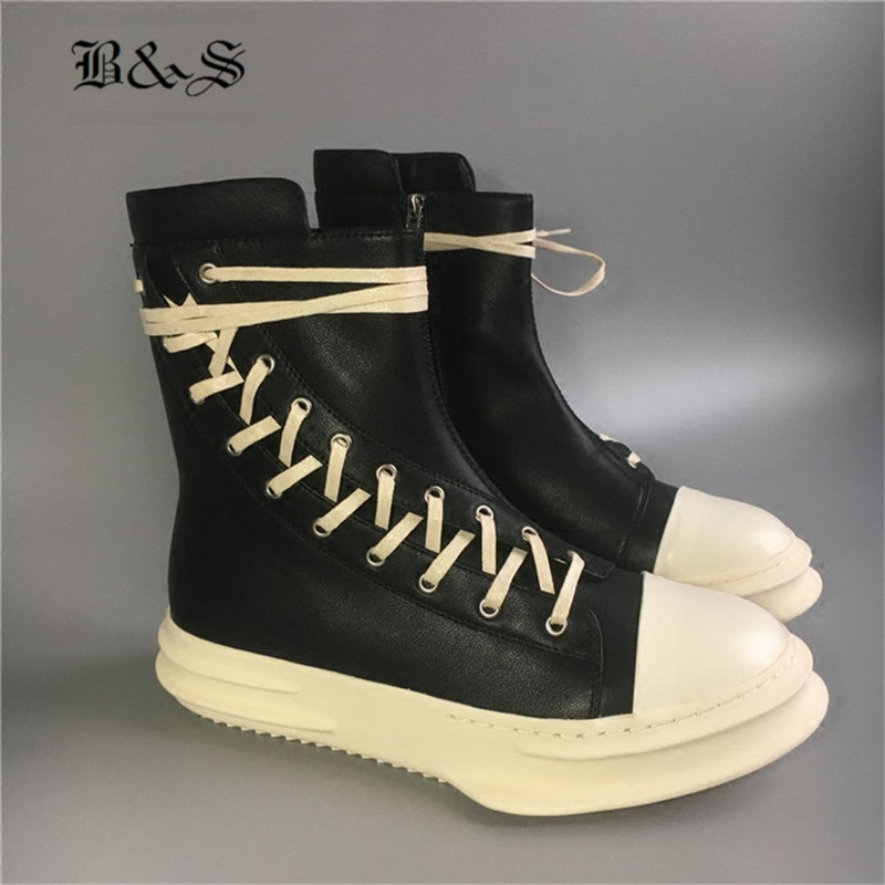 Black& Street 2018 Punk Hip Hop Round Toe Genuine Leather Platform Boots First Yard Cow Leather Side Long Lace luxury BootsBlack& Street 2018 Punk Hip Hop Round Toe Genuine Leather Platform Boots First Yard Cow Leather Side Long Lace luxury Boots