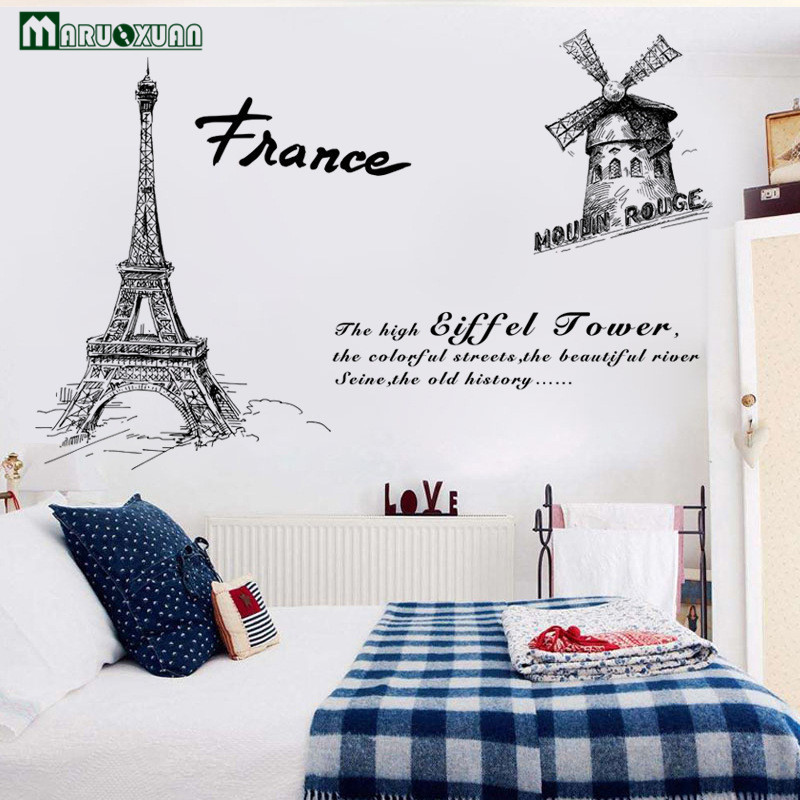 Maruoxuan Paris Tower City Scenery Sticker Bedroom Living Room Bathroom Background Decorative Wallpaper Pvc Wall Stickers 93 158 In From Home