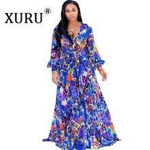XURU Beach Chiffon Long Dress Bohemian Women's Print Dress Full Sleeve V-neck Belt Casual Loose Large Size Dress S-5XL цена
