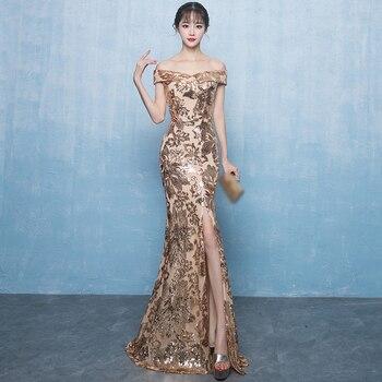 Off the Shoulder Long Dress Mermaid Evening Dress 2019 Sequined Robe De Soiree longue Formal Dress abiye gece elbisesi