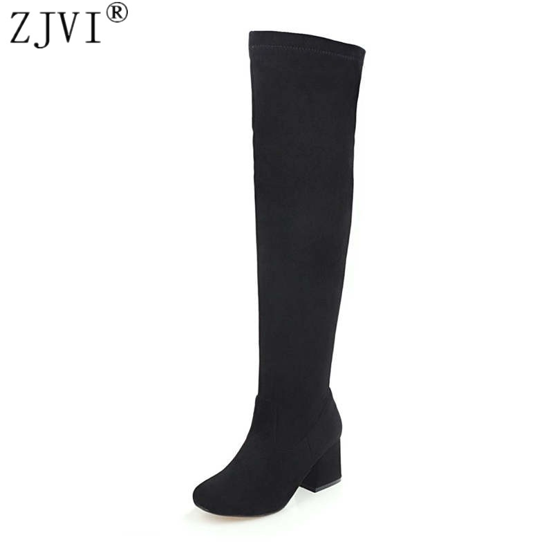 ZJVI women nubuck thigh high boots ladies autumn winter boots woman over the knee boots womens 2018 square high heels shoes