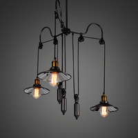 Retro industry Restaurant Bar American rural pendant lights wind creative triple lift telescopic hanging lamp GY192