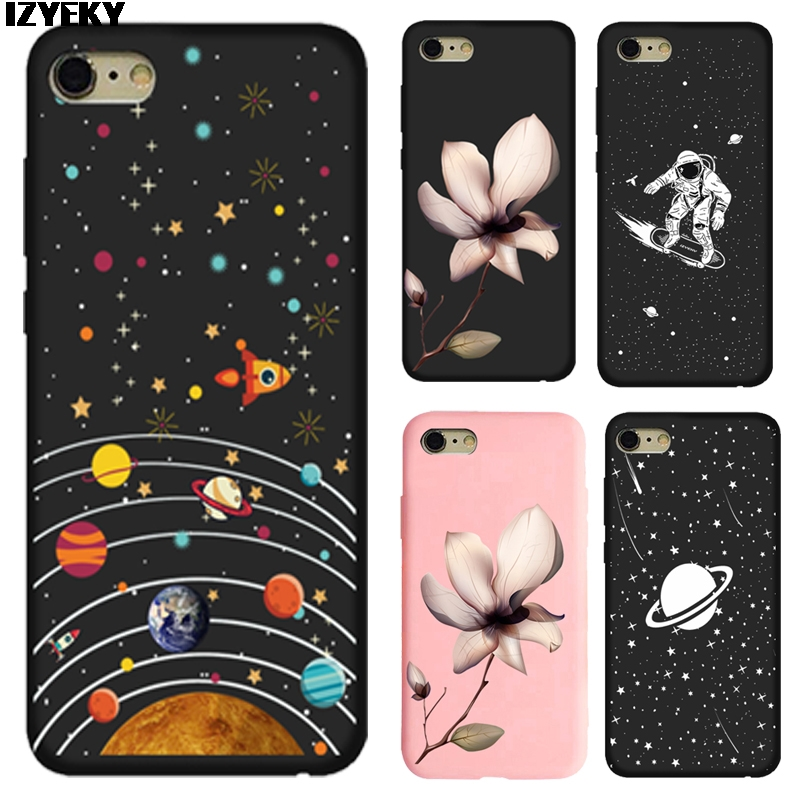 Izyeky Case For Iphone Xr Xs Max 7 8 Plus 6splus 5s Se 6 6s Space Moon Case For Samsung Galaxy S9 Plus S8 S6 S7 Edge Cover Coque Cellphones & Telecommunications Half-wrapped Case
