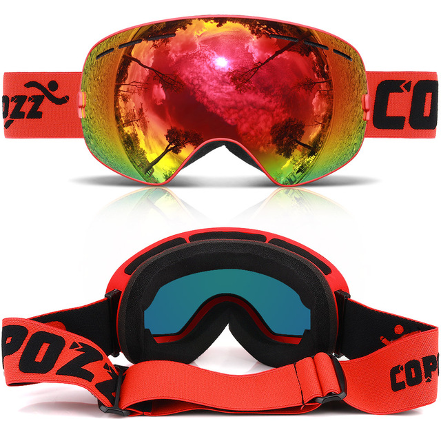 COPOZZ brand ski goggles double layers UV400 anti-fog big ski mask glasses skiing snow men women snowboard goggles GOG-201 Pro 2