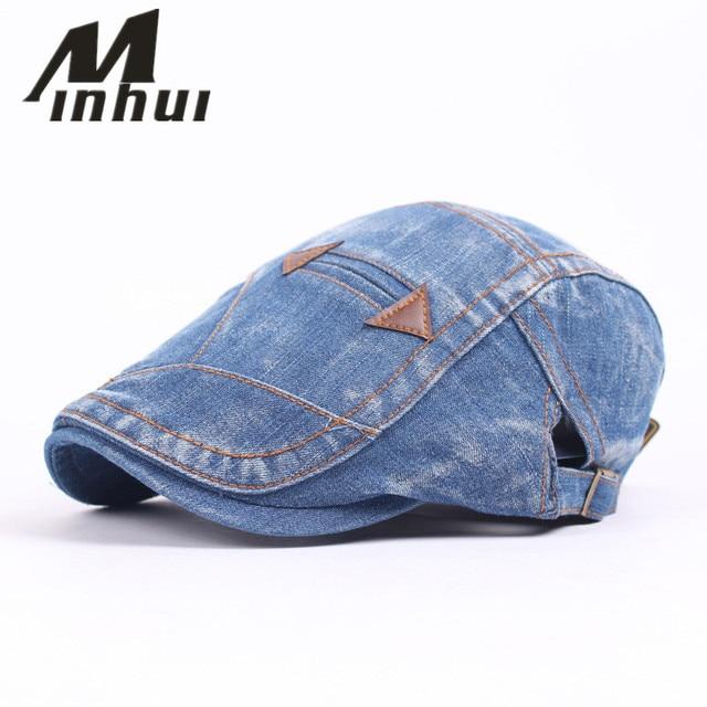 9cb48e72bc7 Minhui 2016 New Fashion Denim Patch Beret Women s Hat Vintage Cap Men  Boinas Gorras Berets Hats