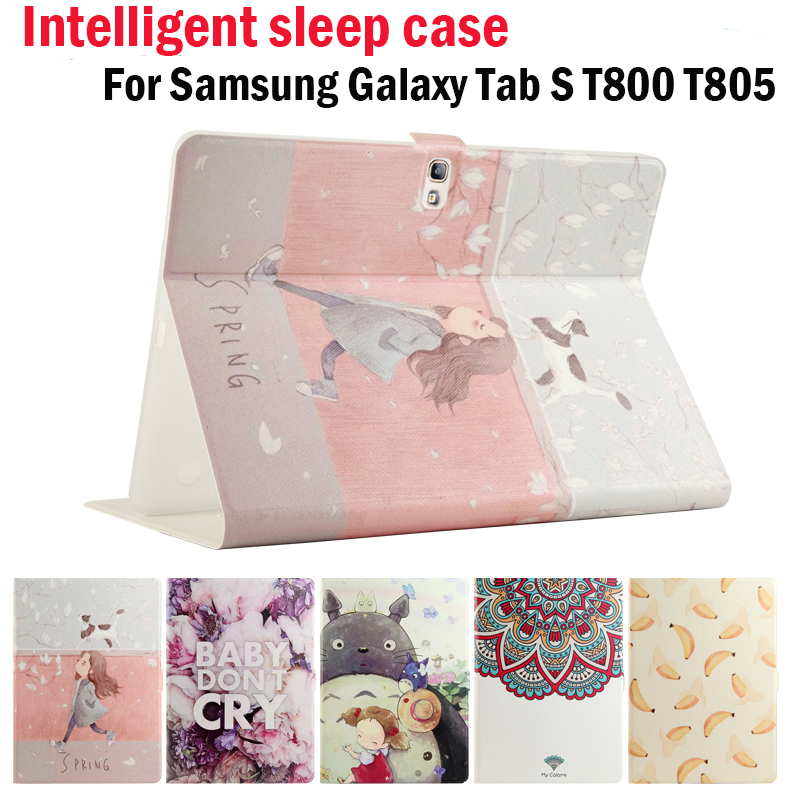 High Quality Fashion Painted PU+TPU Soft Case For Samsung Galaxy Tab S 10.5 inch T800 T805 Cover wake/sleep Tablet skin+gifts for ipad mini4 cover high quality soft tpu rubber back case for ipad mini 4 silicone back cover semi transparent case shell skin