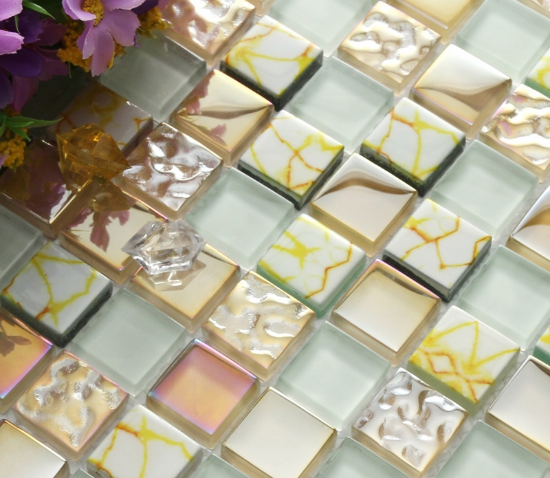 yellow printed puzzle mosaic tiles EHGM1003 for kitchen