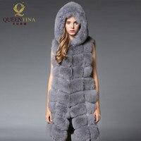 90CM X Long Real Fox Fur Vest with Hood Winter Warm Thick Fox Fur Coat Jacket for Women Real Fur Sleeveless Genuine Fox Fur Vest