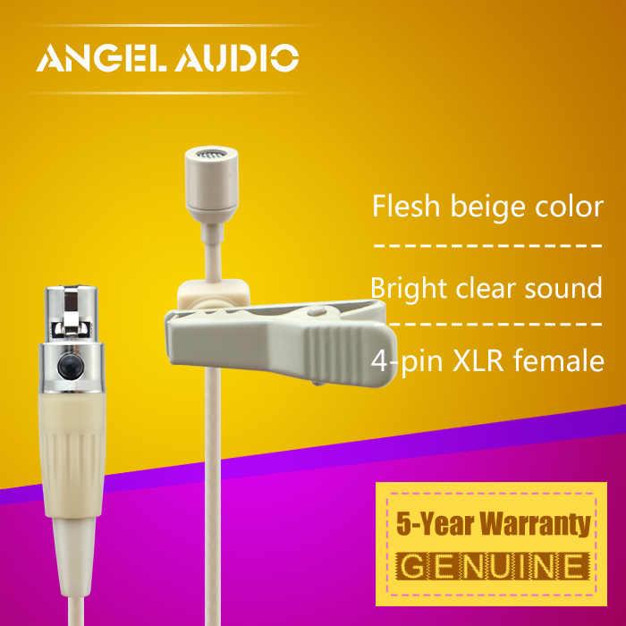 Gratis Pengiriman Daging Warna Mini XLR TA4F 4PIN Konektor Plug Lavalier Lapel Mikrofon untuk Shure Wireless Bodypack Transmitter
