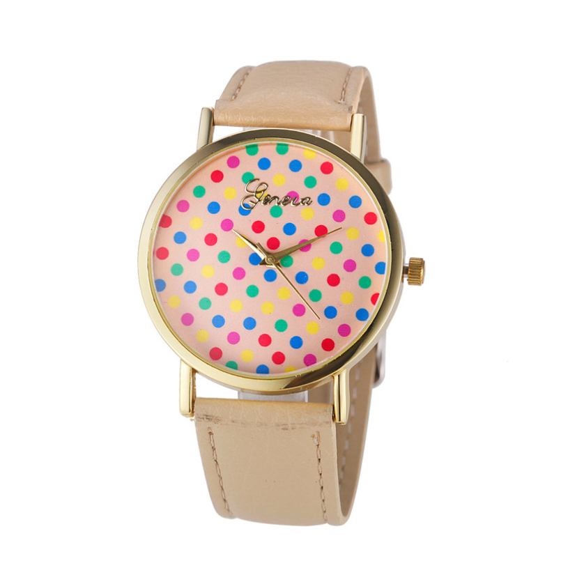 Excellent Quality Newest Top Brand Womens Geneva Colored Dots Analog Leather Quartz Wrist Watch Watches relojes mujer
