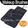 Dropshipping 18 PCS Cheap Makeup Brush Set/ Makeup Brushes Cosmetic Make up Brush Set with leather case