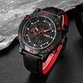 2017 OHSEN Бренд мужской Моды Случайные Спортивные Часы Мужчины Водонепроницаемый Кожаный Кварцевые Часы Человек военный Часы Relogio Masculino