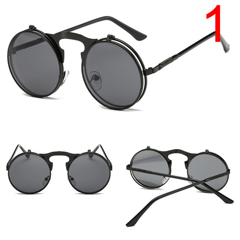 Retro Round Steampunk Flip Up Sunglass Women Mens Clip On Sunglasses Metal Punk Sun Glasses Male