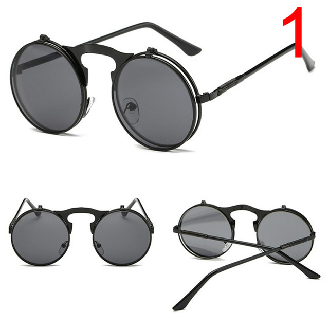 14638e4a71b0 Retro Round Steampunk Flip Up Sunglass Women Mens Clip On Sunglasses Metal  Punk Sun Glasses Male