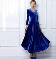 2019 Autumn Winter Dress Women Elegant Casual Long Sleeve Ball Gown Dress Vintage Velvet Party Dresses Plus Size ukraine