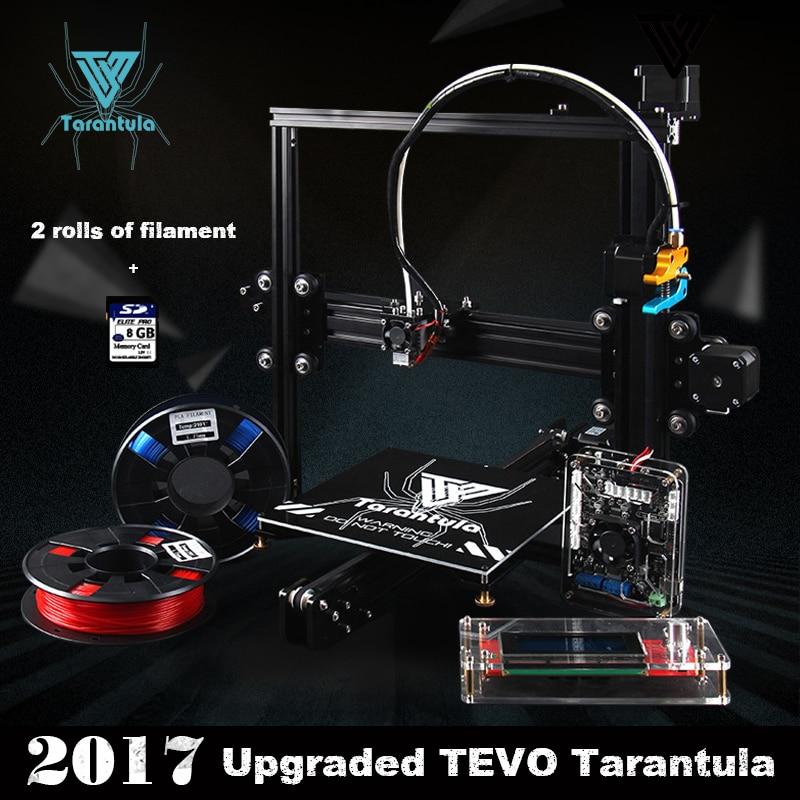 Prix pour 2017 Classique TEVO Tarantula I3 Aluminium D'extrusion 3D Imprimante kit imprimante 3d impression 2 Rolls Filament 8 GB SD carte LCD Comme Cadeau