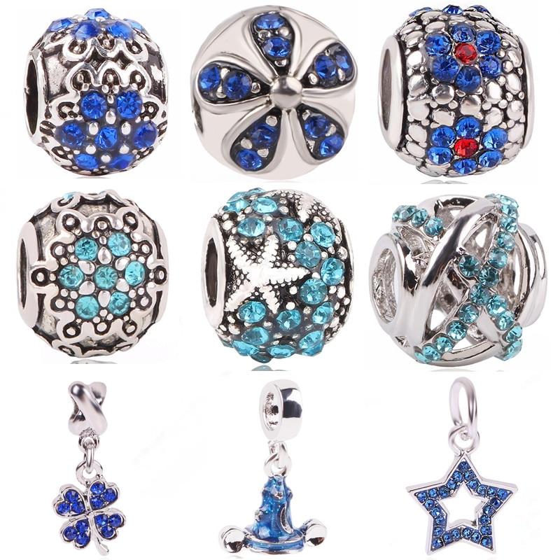 Ranqin 2018New Original Fashion European Blue Crystal Flower Bead Shamrock Magic Cap Fit Pandora Charm Bracelet DIY Women Jewely