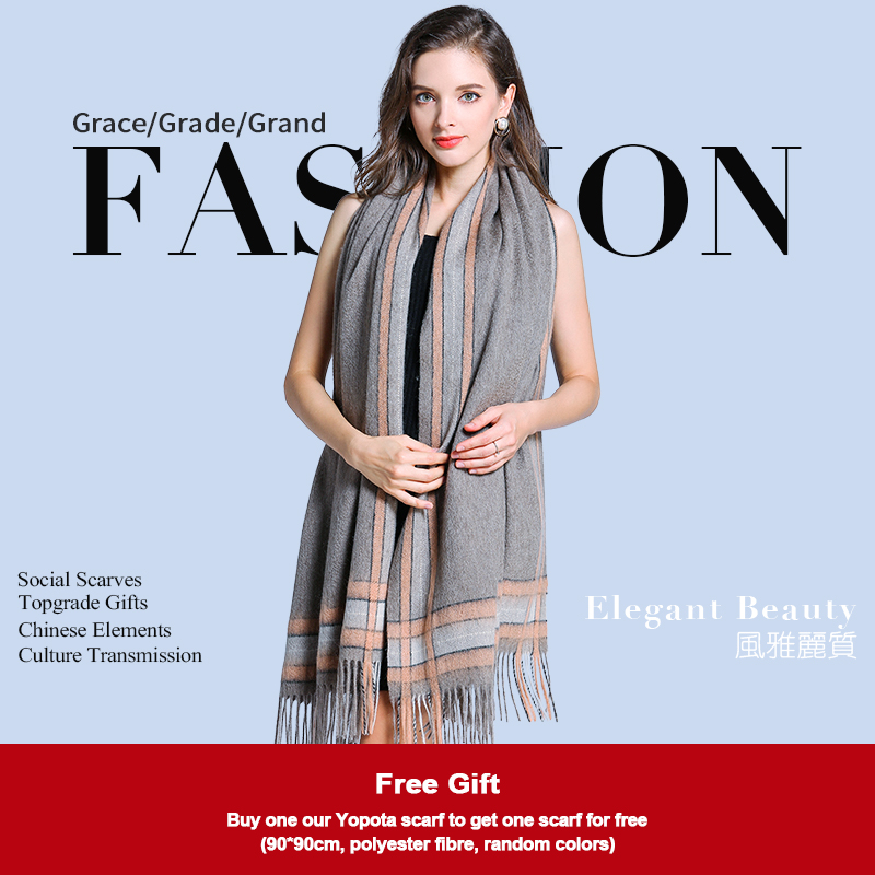 Yopota lady yak cashmere luxury scarves Chinese stripes thickened scarves shawl high end scarves topgrade gift free shipping