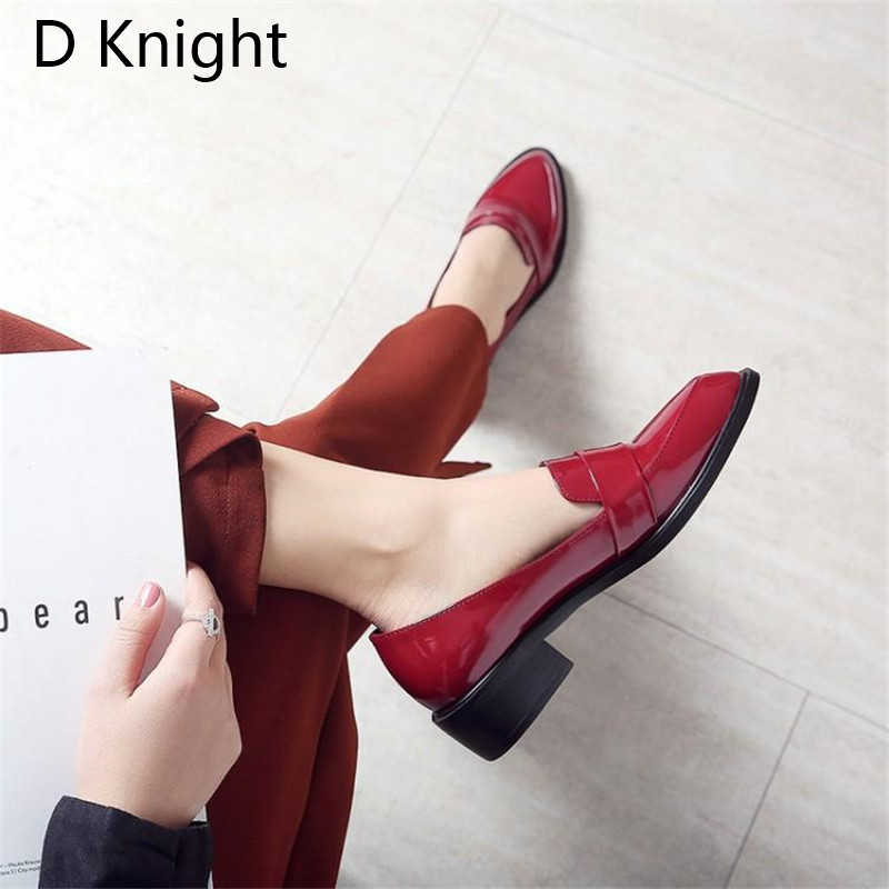Large Size 32-43 Lady Casual Flat Loafers Shoes Fashion Patent Leather Pointed Toe Women's Flats British Black Red Women Oxfords (1)