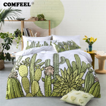 COMFEEL Home Textile 3pcs Comforter Bedding Set Colorful Plant Print Cotton Bed Duvet Cover Sets Pillowcase King Size Bedclothes
