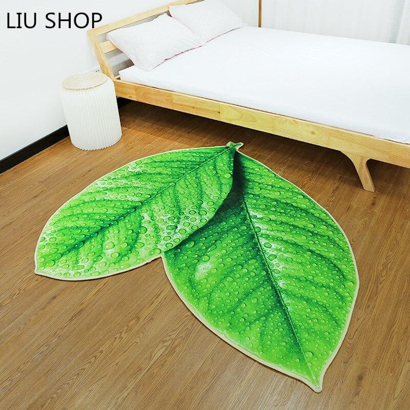 LIU Creative vert arbre feuilles tapis personnalité épaississement éponge salle de bains cuisine couloir cheminée en peluche tapis mode tapis