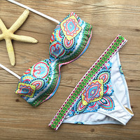 2016 New Style Ethnic Printed Strappy Bikini Swimsuit With Bottom Bathing Low Waist Suit Sexy For