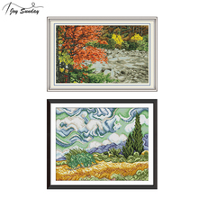 Joy Sunday Beach Landscape Painting Stamped Cross Stitch Kits Aida Canvas Embroidery Kit Crossstitch Needlework DMC Threads Sale