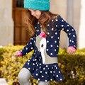 2016 New Autumn Winter Baby Girls Cotton Dress Children Clothing Long Sleeve O-neck Dress Kids One-piece Dots Deer Clothes Dress