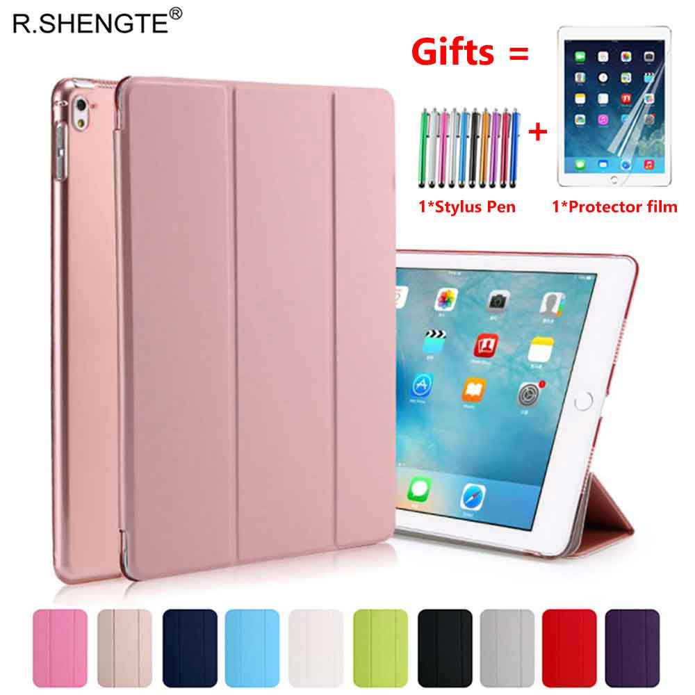 For iPad 9.7 2018 2017 Case Ultra Slim Pu Leather Stand Smart Cover for iPad 5 6 Air 1 2 5th 6th Generation With Stylus Pen+Film