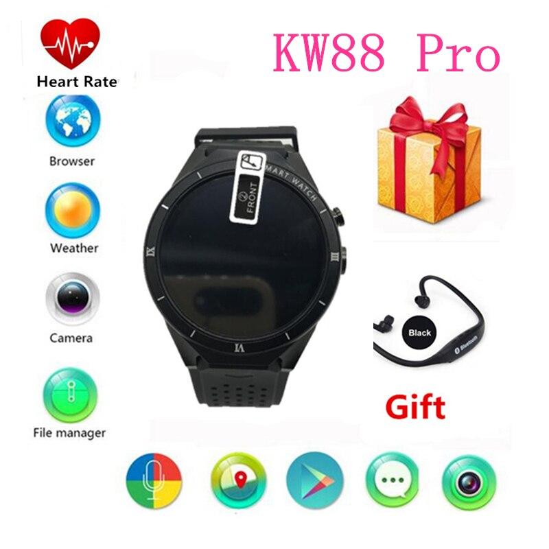a73f2ebf968 Kingwear KW88 pro android 7.0 relógio Inteligente 1.39 polegada 400 400  telefone SmartWatch 2.0MP