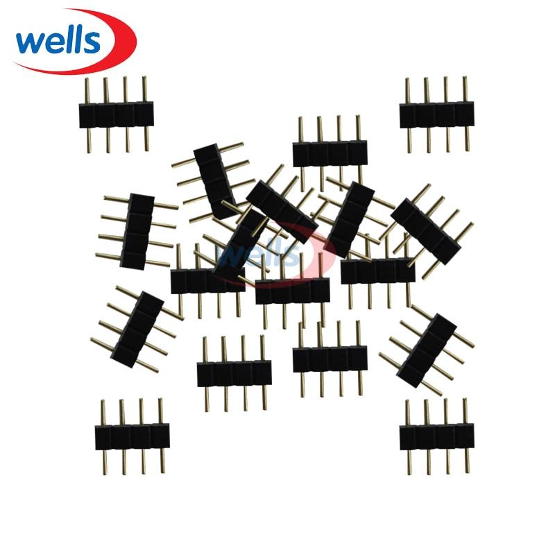 100 pcs 4 Pin 4pin RGB Conector Adaptador agulha dupla masculina 5050 LEVOU RGB tira