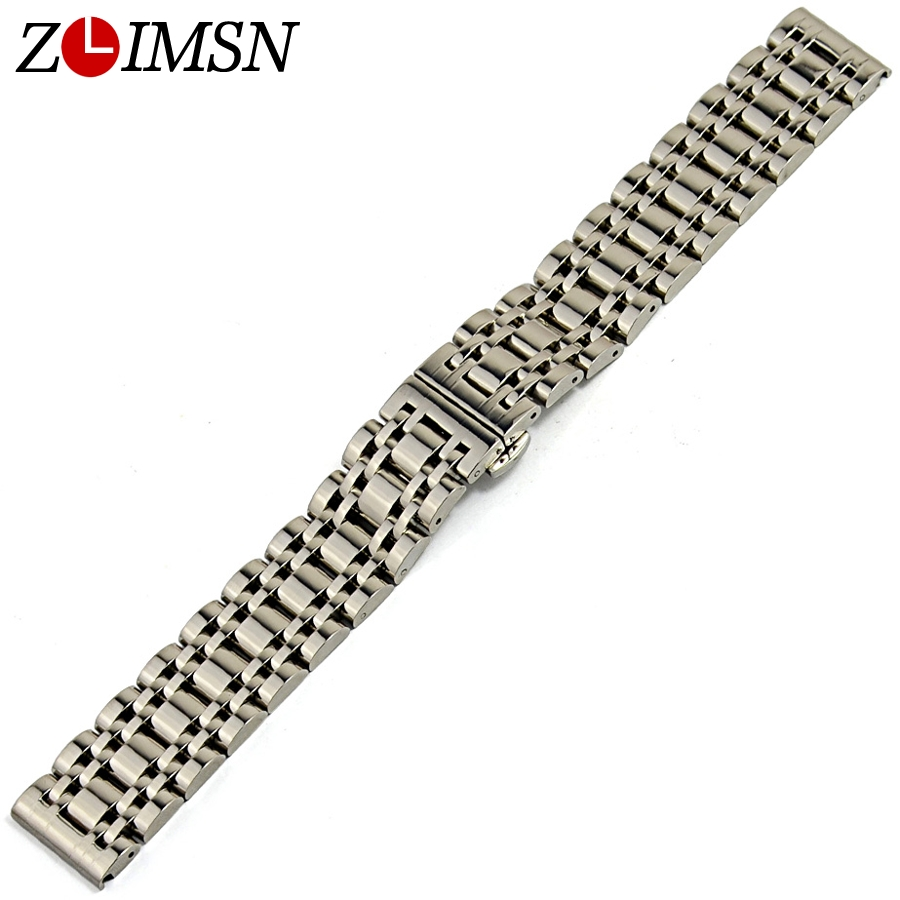 ZLIMSN Stainless Steel Strap Silver Watch Band Unisex Bracelet Double Fold Deployment Clasp Watches Buckle 16 18 20 22mm Belt