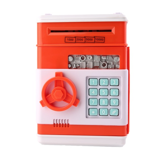 7colors Kids Electronic Money Safe Box Password Saving Bank ATM for Coins and Bills Code Key Case system Money Saving box