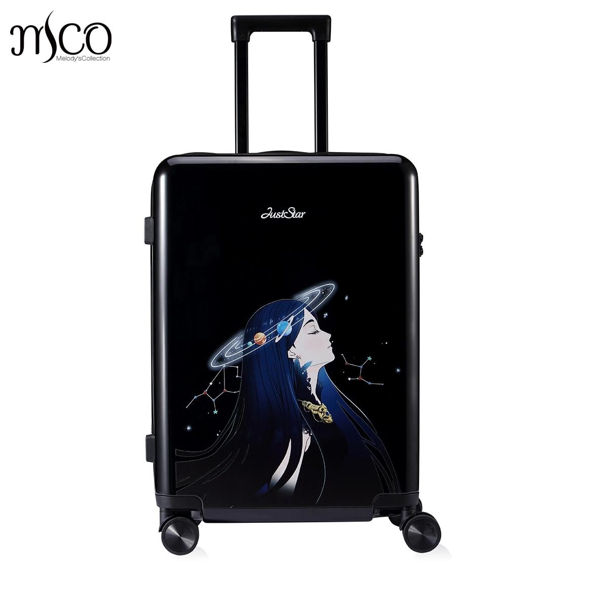 купить Just Star Women Spinner trolley Braccialini Harajuku travel case TSA Girls Rolling Luggage PC Hardside Trolley Boarding Luggage недорого